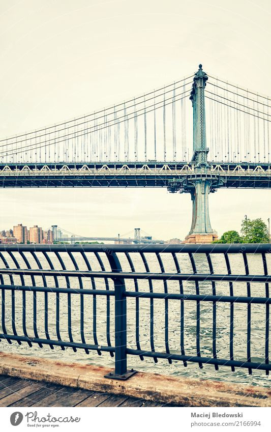 Manhattan Bridge in New York. Old Town Architecture Retro USA River Tourist Attraction Landmark City
