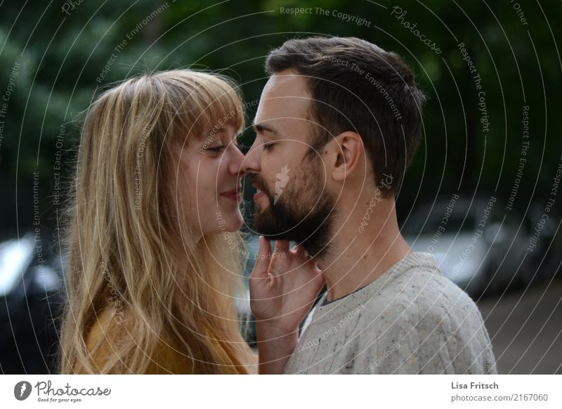 young couple - eyes closed - in love Couple Partner Life 2 Human being 18 - 30 years Youth (Young adults) Adults brunette Blonde Long-haired Bangs Facial hair