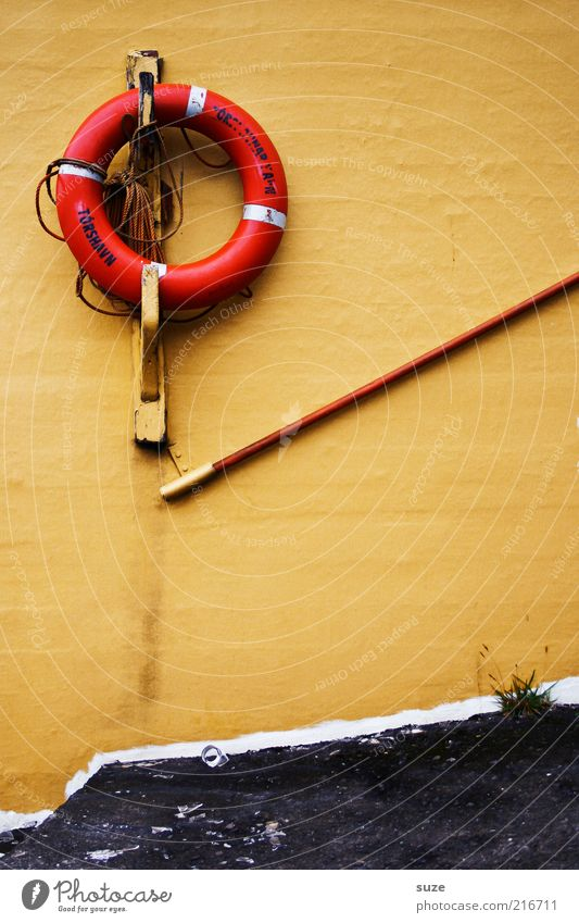 Old Yellow Wall (building) Characters Decoration Handrail Rescue Life belt Denmark Lifesaving Føroyar Tórshavn