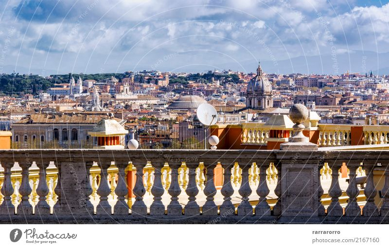 view of rome through a marble balustrade Vacation & Travel Tourism Sightseeing Landscape Sky Clouds Horizon Autumn Tree Hill Town Skyline Church Building