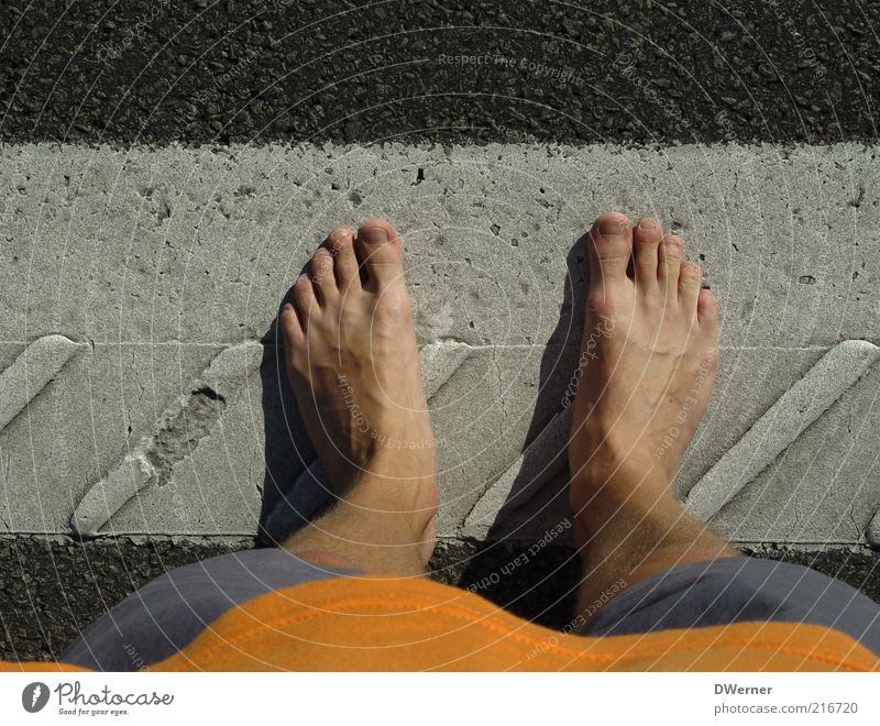 Human being Man Summer Street Stone Feet Line Legs Wait Adults Road traffic Masculine Beginning Stand Asphalt