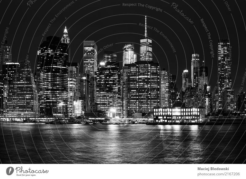 Black and white picture of Manhattan skyline at night. Vacation & Travel Sightseeing City trip Flat (apartment) Small Town Downtown Skyline Overpopulated