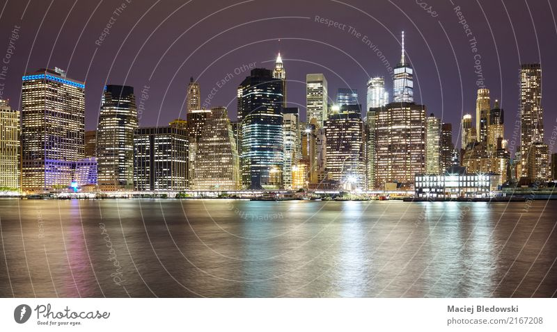 Manhattan at night. Vacation & Travel Town Architecture Building Flat (apartment) Living or residing High-rise USA Illustration Tourist Attraction Skyline