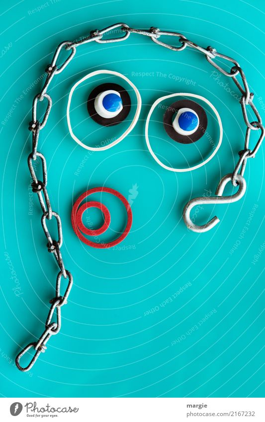 Emotion... cool faces: collage the innocence of the country with chain and rubber rings Human being Feminine Woman Adults Face Eyes Mouth 1 To talk Green
