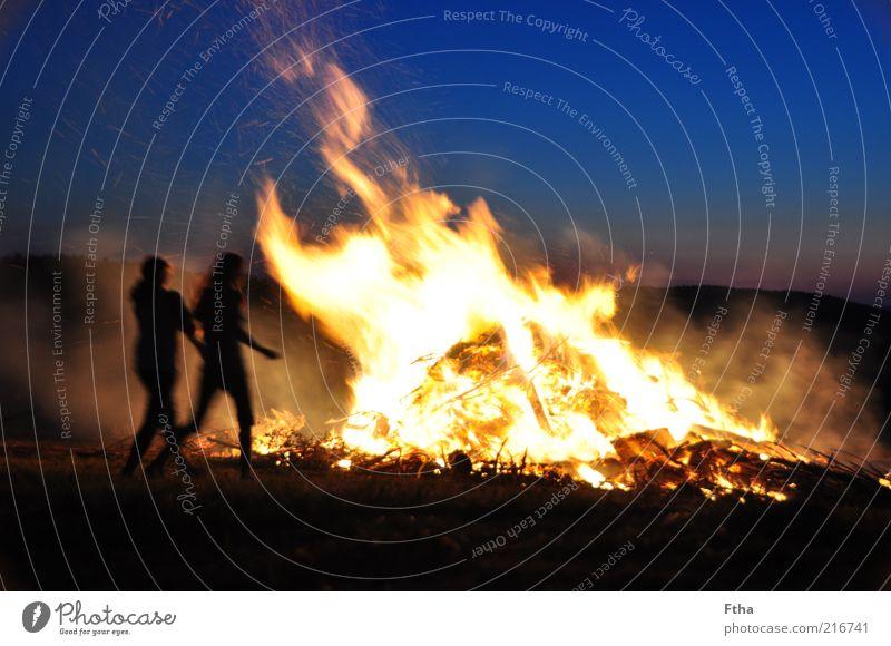 Human being Blue Summer Yellow Warmth Blaze Large Fire Hot Burn Flame Fireplace Embers Sunset Night Sunrise