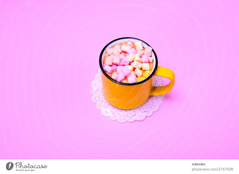 drink and colorful pieces of marshmallow Dessert Candy Beverage Hot Chocolate Cup Fresh Delicious Above Yellow Pink Marshmallow mug Slice Top sweet food