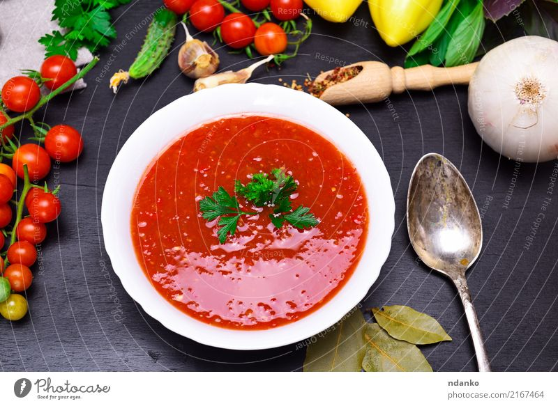 Gazpacho spanish cold soup Vegetable Soup Stew Herbs and spices Nutrition Lunch Dinner Vegetarian diet Diet Plate Spoon Summer Table Kitchen Wood Fat Fresh