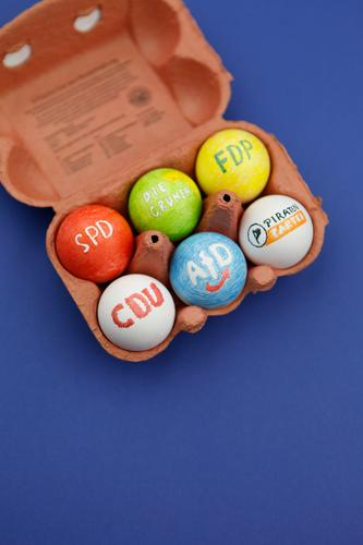 Art Esthetic Select Egg Elections Federal elections Election campaign Eggs cardboard Christian Democratic Union SPD Free Democratic Party Alliance 90