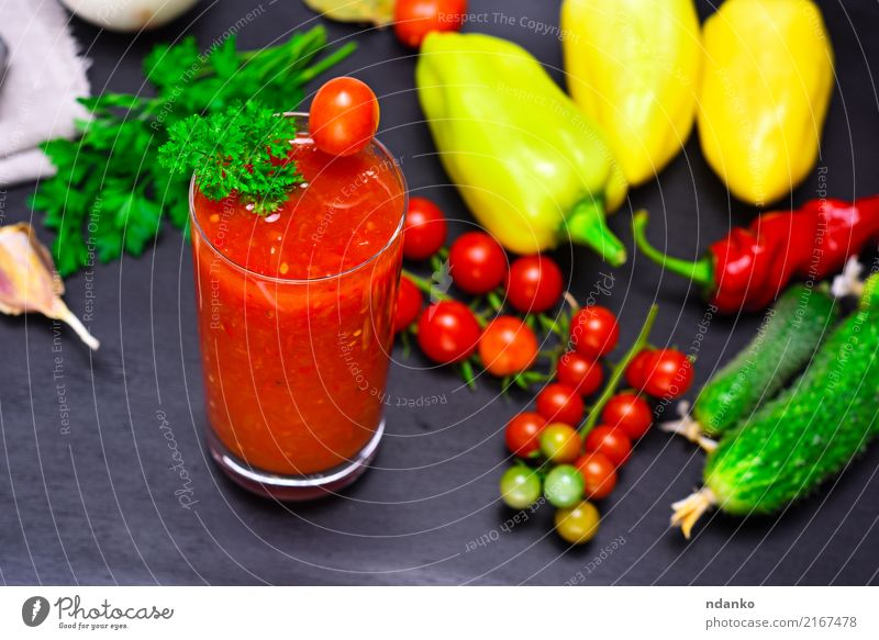 juice from a red tomato Vegetable Herbs and spices Vegetarian diet Diet Juice Glass Kitchen Wood Fresh Green Red White Tomato Cherry pepper background