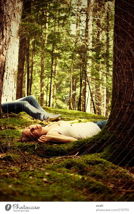 Woman Human being Youth (Young adults) Green Tree Adults Forest Feminine Dream Lie Exceptional Longing 18 - 30 years Pain Moss Young woman