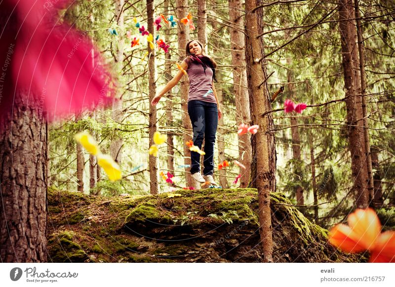 Woman Human being Nature Youth (Young adults) Green Tree Joy Adults Forest Feminine Emotions Jump Happy Laughter Dream Pink
