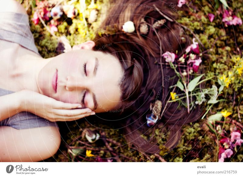 nestled Human being Feminine Young woman Youth (Young adults) Woman Adults Hair and hairstyles Face Hand 1 18 - 30 years Flower Moss Twigs and branches Lie