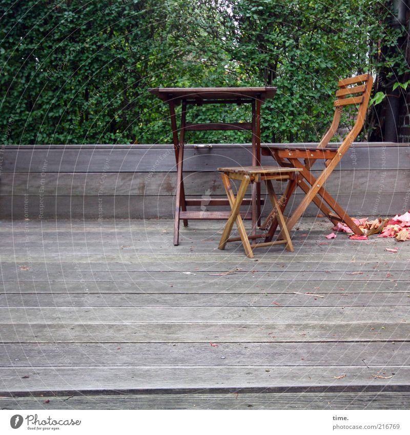 [HH10.1] - Front garden ensemble Garden Table Chair Backrest Wood Seating Furniture Exterior shot Tree Green Leaf Autumn Break Small Large Veranda Edge Border