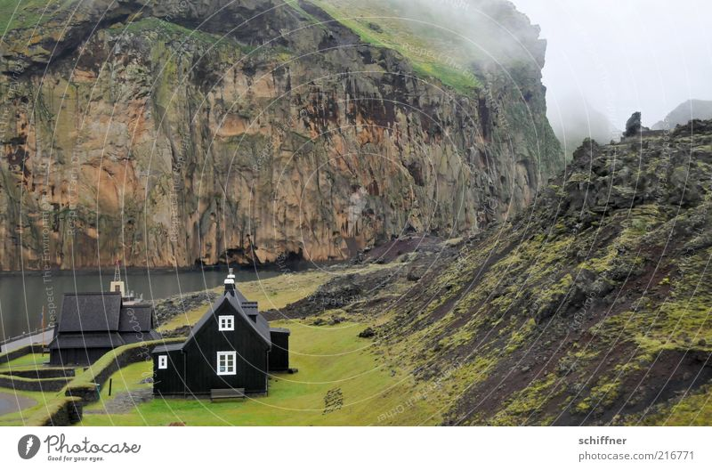 Loneliness Dark Meadow Stone Building Coast Small Rock Island Church Hill Bay Iceland Canyon Volcano Fjord