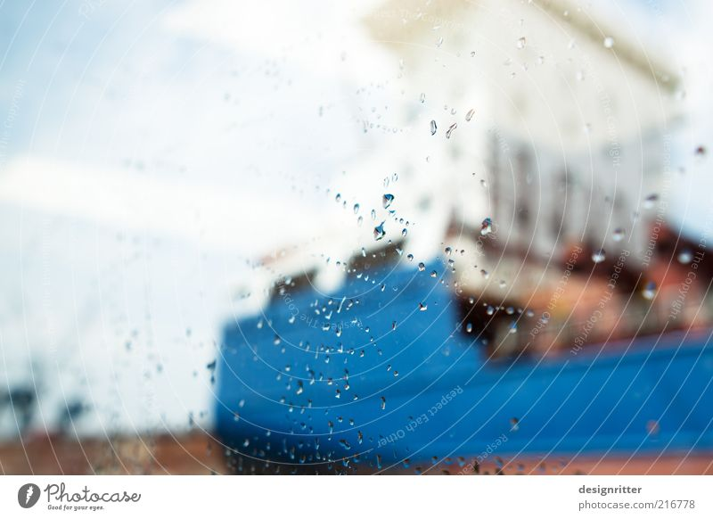 Low Seasonal Harbour Tour Water Drops of water Sky Climate Weather Bad weather Rain Navigation Container ship Drizzle Sightseeing Harbour tour Colour photo