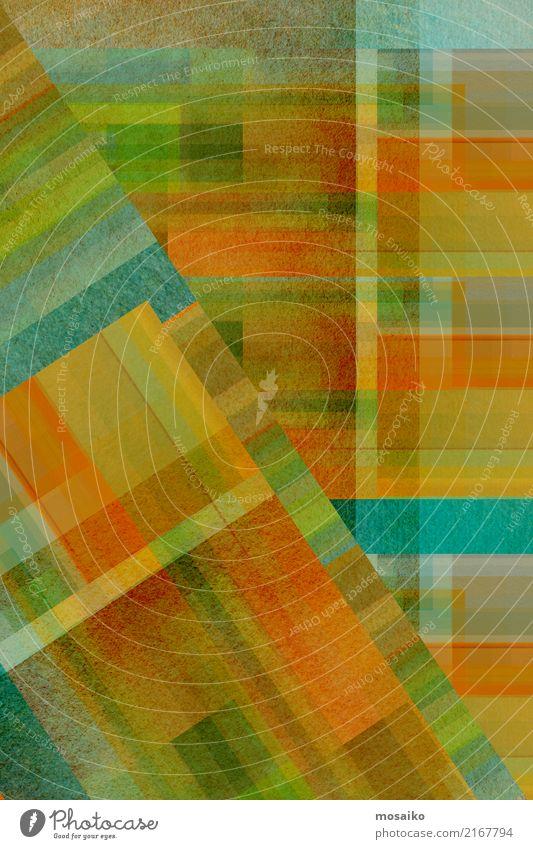 geometric colour play Lifestyle Elegant Style Design Joy Art Work of art Esthetic Exceptional Retro Blue Brown Multicoloured Yellow Gold Gray Green Orange