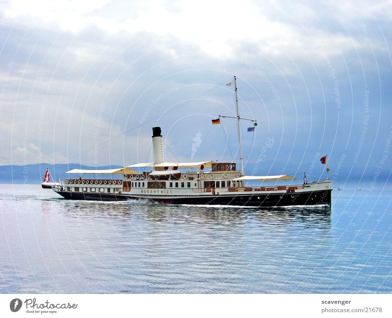 Water White Sun Blue Black Clouds Watercraft Germany Weather Leisure and hobbies Switzerland Navigation Austria Lake Constance Steamer Passenger ship