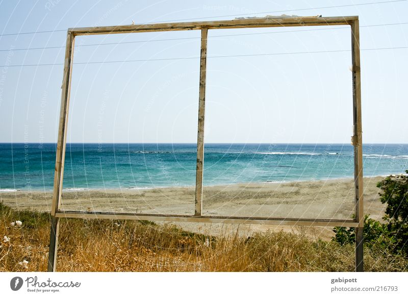 Nature Blue Summer Beach Ocean Far-off places Freedom Landscape Grass Warmth Coast Brown Waves Horizon Signs and labeling