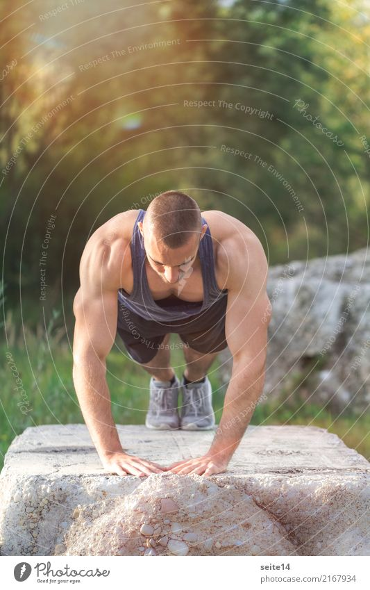 Push-up during outdoor training in the park Lifestyle Healthy Athletic Fitness Summer Sun Sports Sports Training Sportsperson Muscular Sports top Musculature