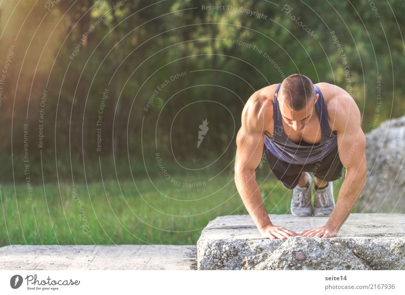 Push-up during outdoor training in the park Healthy Healthy Eating Athletic Fitness Summer Sun Sports Sports Training Sportsperson Muscular Sports top