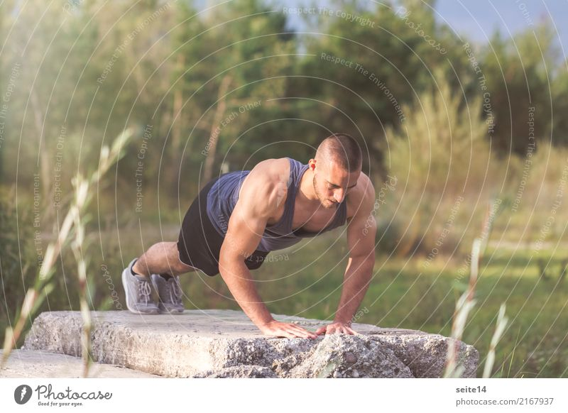Push-ups during outdoor training in the park Healthy Healthy Eating Health care Athletic Fitness Summer Sun Sports Sports Training Sportsperson Muscular