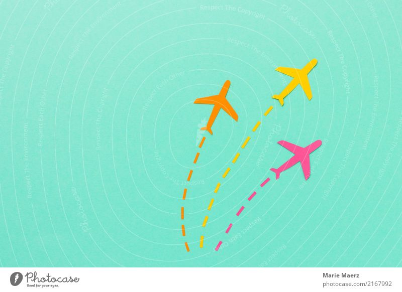 Flight Fleet Vacation & Travel Tourism Far-off places Aviation Airplane Flying Esthetic Cool (slang) Yellow Pink Turquoise Flexible Life Movement Icon