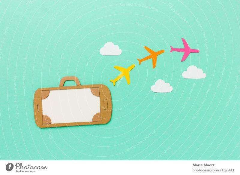 Mobile holiday planning. Mobile phone as suitcase with airplanes clouds Vacation & Travel Summer Cellphone PDA Flying Shopping Hip & trendy Modern Multicoloured