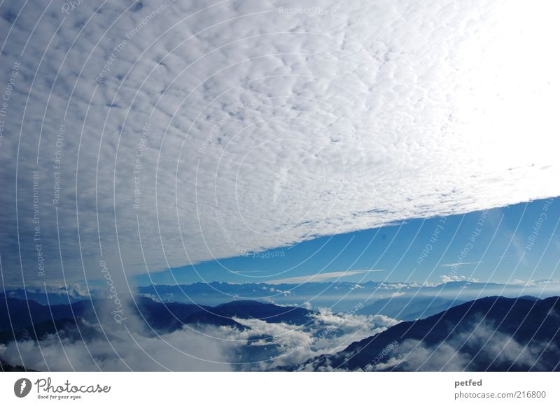 heavenly glory Sky Clouds Sun Sunlight Mountain Himalayas Gigantic Infinity Blue White Far-off places Clouds in the sky Cloud cover Panorama (View)