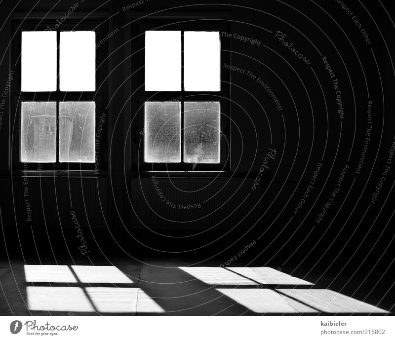 a shadow of itself House (Residential Structure) Building Architecture Window Room Heater Floor covering Old Dirty Dark Black White Calm Loneliness Symmetry