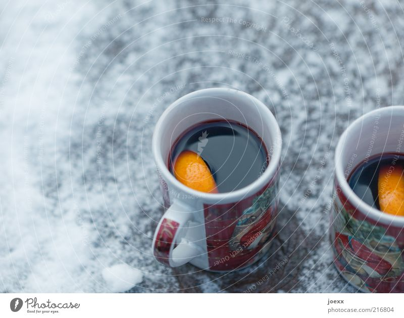 Hot wine Winter Snow Cold Mulled wine Orange slice Cup Christmas & Advent Colour photo Exterior shot Day hot wine cups Deserted mug of hot wine Hot drink 2