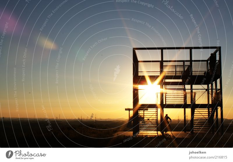 Layer at shaft IV Mine Mining Industry Human being 1 Culture Industrial heritage Cloudless sky Horizon Sunrise Sunset The Ruhr Architecture Mine tower Monument