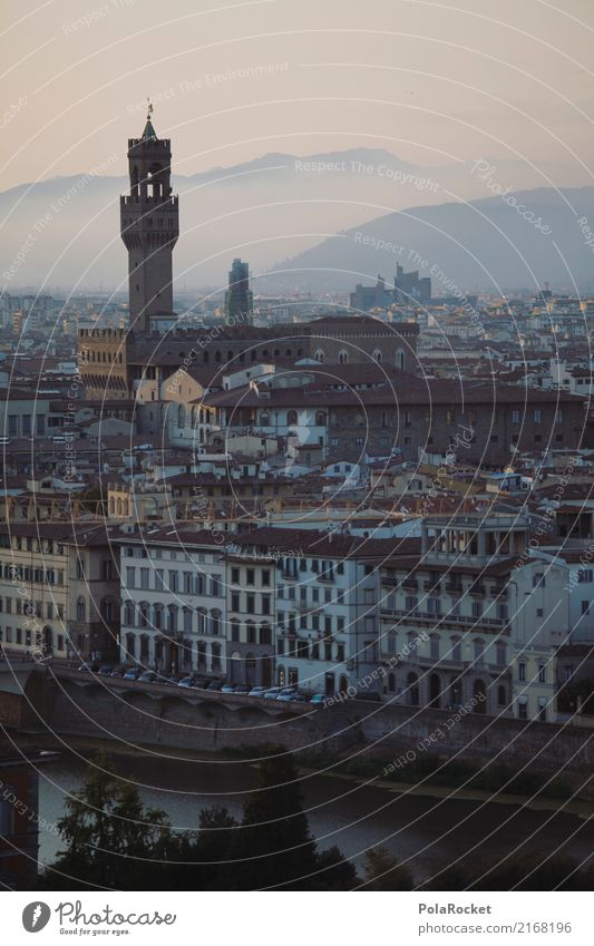 #A# Tower of Florence Town Esthetic Lure of the big city Italy Colour photo Multicoloured Exterior shot Experimental Pattern Deserted Copy Space left