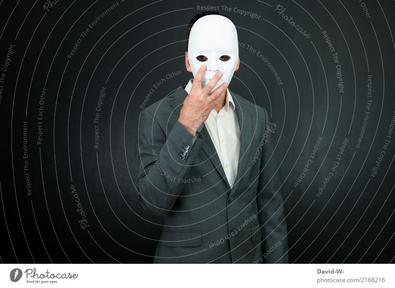 Man in mask - anonymous Mask Anonymous coronavirus Concealed Hide Mysterious anonymity covert Identity unidentified masked Masked ball Carnival White pale
