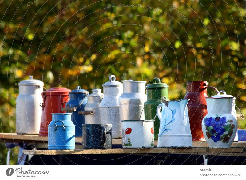 Old Style Markets Multiple Retro Things Many Nostalgia Tradition Pot Aluminium Enamel Jug Selection Multicoloured Flea market