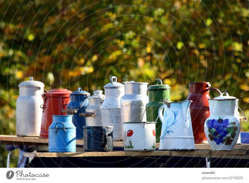 Old Style Markets Multiple Retro Things Many Nostalgia Tradition Pot Aluminium Enamel Jug Selection Multicoloured Flea market