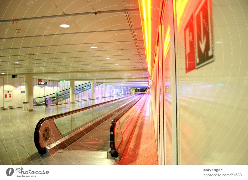 gateway Escalator Munich Moving pavement Far-off places Multicoloured Architecture Airport Light Colour Stairs Lanes & trails
