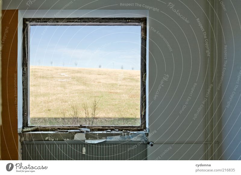 Nature Sky Calm Meadow Window Landscape Room Flat (apartment) Environment Time Empty Perspective Vantage point Living or residing Still Life Heater