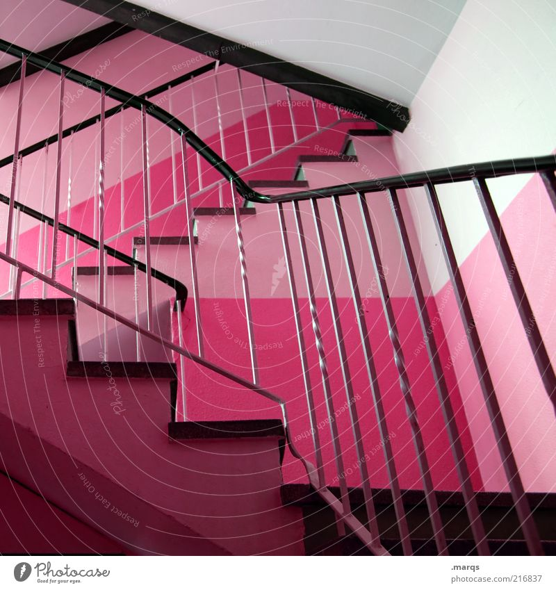 rise Interior design Staircase (Hallway) Architecture Stairs Banister Exceptional Sharp-edged Hip & trendy Pink Design Colour Colour photo Interior shot