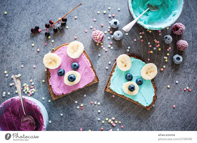 Happy Faces - animal faces on bread Bread Wholewheat Funny Bear Child Banana Blueberry Nutrition School Elementary school Break Schoolyard suitable for children