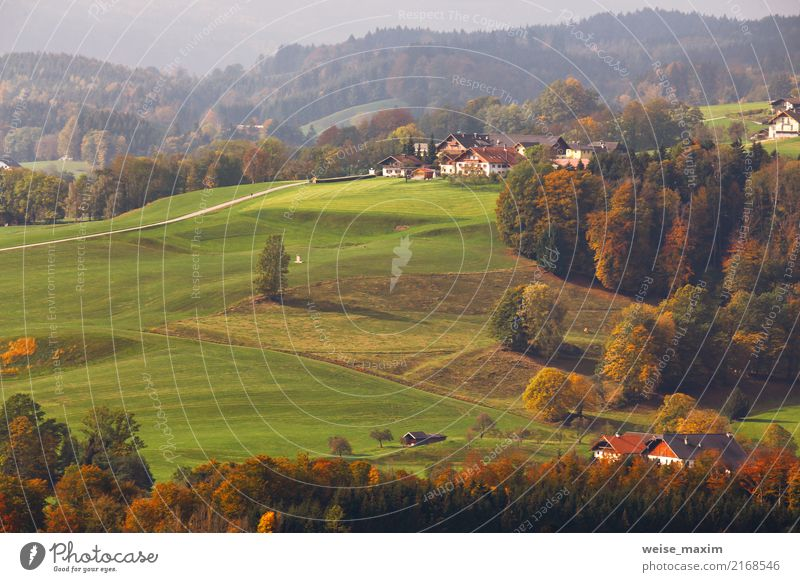 Austrian village on mountain hills in Alps Vacation & Travel Tourism Trip Far-off places Freedom Summer Mountain House (Residential Structure) Nature Landscape