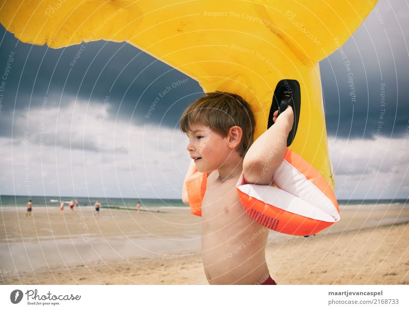 Child Human being Summer Water Landscape Ocean Clouds Joy Yellow Coast Boy (child) Playing Orange Masculine Infancy Toys