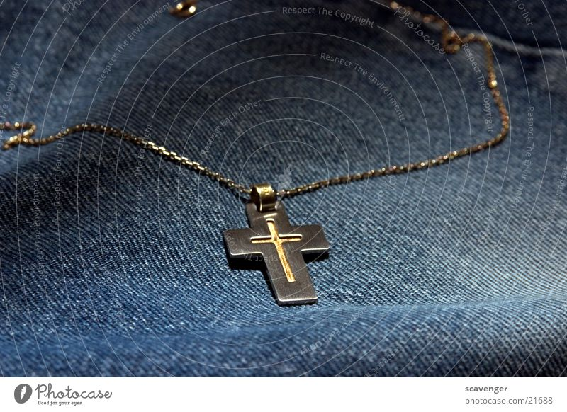 cross Necklace Christianity Jewellery Cloth Rough Style Crucifix Belief Subsoil Back Gold Silver Metal Followers Noble Blue Jeans Lamp Lighting Reflection