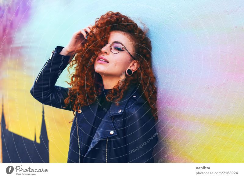 Young and cool redhead woman Human being Youth (Young adults) Young woman Town Beautiful Eroticism 18 - 30 years Adults Lifestyle Feminine Style