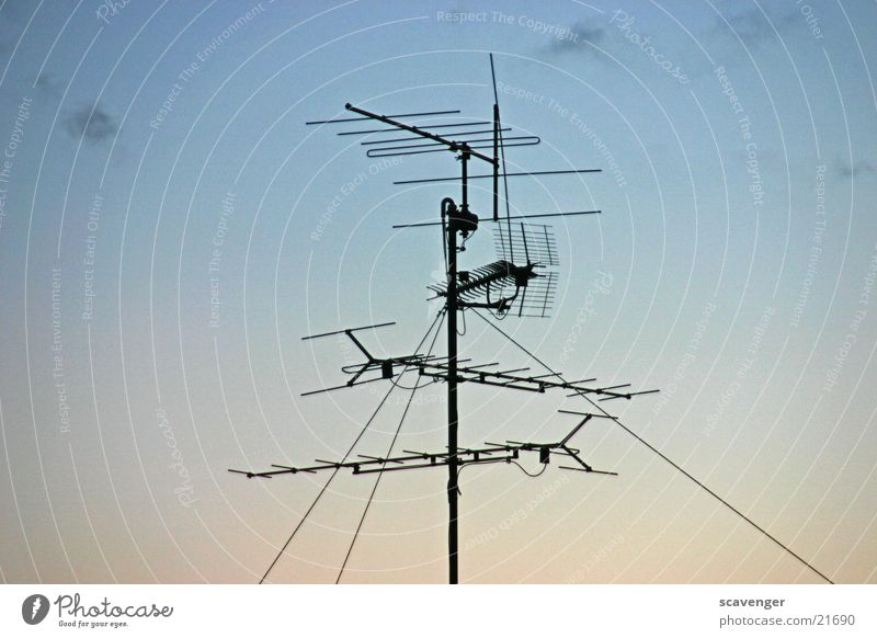 aerial Antenna Radio technology Roof Horizon Sunset Sunrise Clouds Light Black Electrical equipment Technology Rod Metal Sky Shadow
