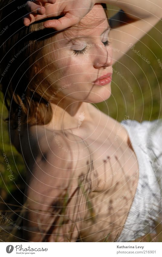shadow play Human being Young woman Youth (Young adults) Woman Adults 1 18 - 30 years Spring Summer Beautiful weather Meadow Fashion Dress Brunette Breathe