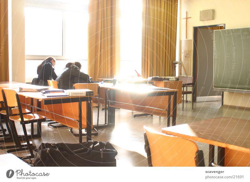 classrooms Classroom Trade school Augsburg Light Radiation Dazzle Overexposure 2 Multiple Lessons Teacher Drape Window Sunbeam Glittering Chair Empty