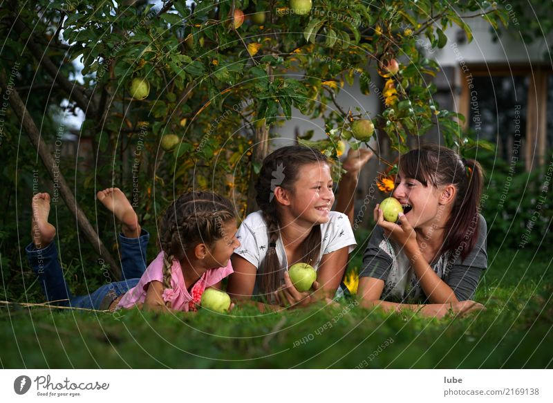 Nature Relaxation Girl Eating Environment Autumn Healthy Meadow Garden Food Friendship Fruit Nutrition Infancy Agriculture Apple