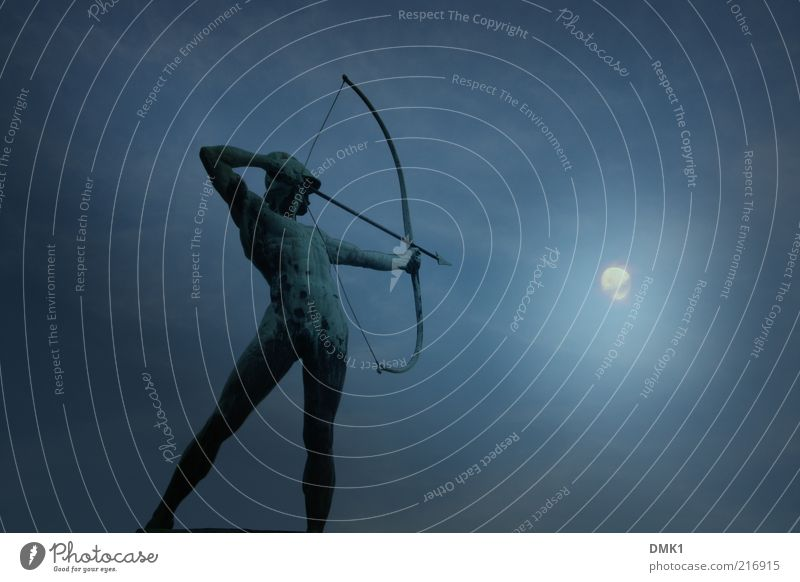 Lights out! Success Human being Masculine Man Adults Body 1 Art Work of art Sculpture Hat Metal Sign Arrow Discover Fight Make Looking Stand Illuminate Esthetic