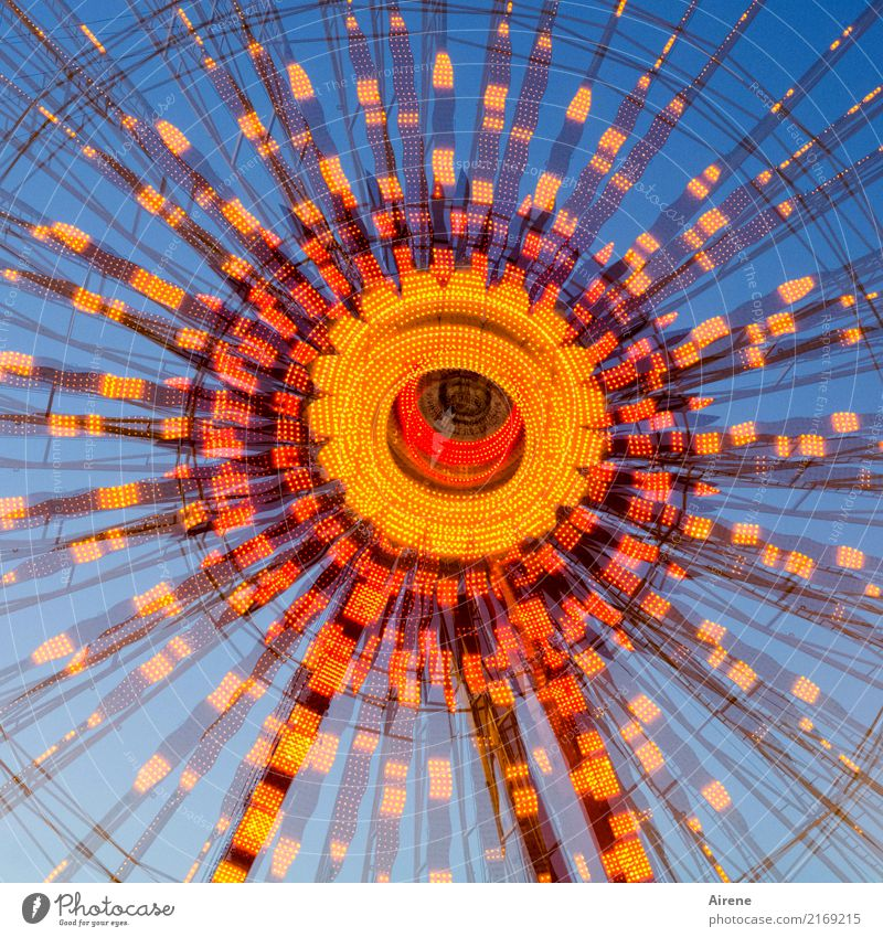 after the third measure Feasts & Celebrations Oktoberfest Fairs & Carnivals Festive Lighting Sea of light Circle Wheel Rotate Illuminate Gigantic Round Blue