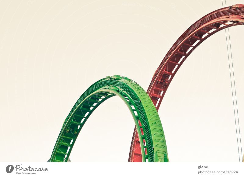 Sky Green Red Speed Driving Round Fairs & Carnivals Half Curved Roller coaster Cloudless sky